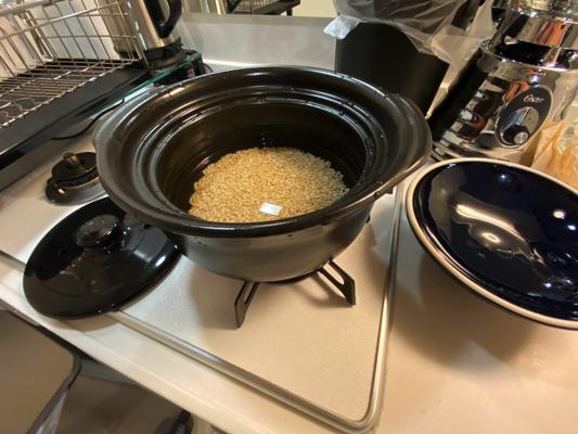 水をいれた土鍋